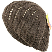 Swirl Knit Winter Ski Beret Knit Tam Hat Shiny Grey with Silver Threading