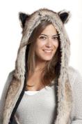 Faux FUR ANIMAL Winter Snow HATS HOODS GUARDIANS OF LUNA BEAR ski WITH POMS UNISEX GLOVES WARM WINTER