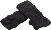 Nirvanna Designs MT13F Black Flower Crochet Handwarmers with Fleece