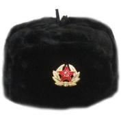Hat Russian Soviet Army KGB * Fur Military Cossack Ushanka * Size XL Black