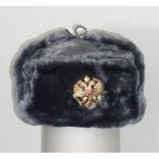 Russian Army KGB Cossack Military Fur Hat Ushanka *grey/XL* w/Imperial Eagle Crest Badge