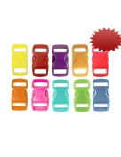 "50 Buckles 3/8"" (10mm), Mix of 10 Colours (5 of each) Contoured Side-Release. Perfect for Paracord Bracelets."
