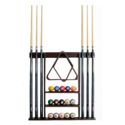 6 Pool Cue - Billiard Stick Wall Rack Made of Wood, Mahogany Finish