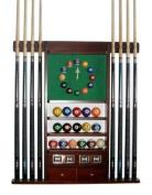 Cue Rack Only - 8 Pool - Billiard Stick & Ball Wall Rack W Clock Choose Oak or Mahogany Finish