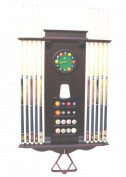10 Pool Cue Stick Billiard Wall Rack W/ Clock Choose Mahogany or Oak Finish