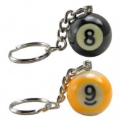 8-Ball & 9-Ball Miniature Pool Ball Keychains