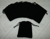 (10) Small Velvet Black Pouches With Drawstrings