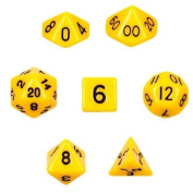 7 Die Polyhedral Dice Set - Solid Yellow with Velvet Pouch By Wiz Dice