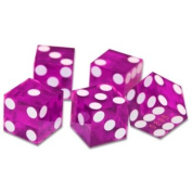"""19mm Polished """"A Grade"""" Serialised Set of 5 Violet Casino Dice with Razor Corners and Edges By Brybelly"""