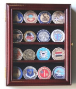 XS Casino Chip / Coin Display Case Cabinet Holders Rack w/ UV Protection, Cherry
