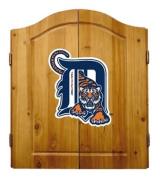 MLB Detroit Tigers Solid Pine Cabinet And Bristle Dartboard Set