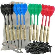 Set of Twelve 2ba 16gm Soft Tip Darts, 100 Black Dart Tips, & Dart Wrench