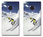 SNOW SKIING THEMED CORNHOLE GAME SET
