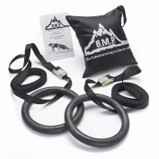 Black Mountain Products Multi-Use Exercise Gymnastics Rings, Black