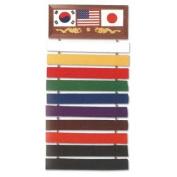 Ultimate Arms Gear Deluxe Martial Arts Karate Judo Ten Level Belt Wall Display Rack Holder Show Case Wood Plaque