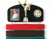 Martial arts belt display with a KICK ! Midn. trophy male.