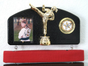 Martial arts belt display with a KICK ! Midn. trophy female