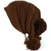 Winter Unisex Adjustable Back Tie 3 Pom Pom Ribbed Knit Slouchy Ski Beanie Brown