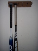 Wood Baseball Softball Bat Rack Display 3-5 Full Size Bats Brown Wall Mount