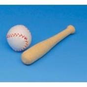7.6cm . WOOD BASEBALL BAT AND BALL 2PC/PKG