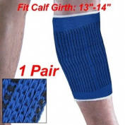 Como Pair Stretchy Blue White Sleeve Calf Crus Brace Support