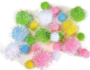 Pastel Colour Iridescent Tinsel Pom Poms in Assorted Sizes, Perfect for a Variety of Crafts-4 Packages of 25- 100 Total Pom Poms.