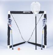 STX FiddleSTX Three Player Game Set with Two Field Player Sticks One Goalie Stick Mini Goal and Balls