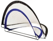 Newly designed portable pop up goal with poly/steel frame construction and gusseted, nylon corners. Elastic anchor tethers and . fasteners to hold in folded position. Polyester net, 8 mm mesh. 3 Nylon anchor pegs per goal. Polyester carrying bag inc