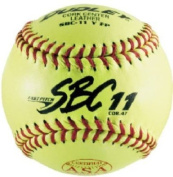Dudley ASA SBC Leather27.9cm Yellow Fast Pitch Softball, .1.9kg, Red Stitch
