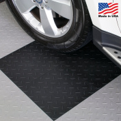 ModuTile Garage Flooring Interlocking Tiles, Diamond Top, Black, 27 pack