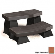 Spa Sure Step II - Light Redwood - Round or Square Portable Hot Tub Accessory - Two Tier Durable Plastic Steps