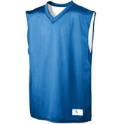 YOUTH Tricot Mesh/Dazzle Reversible Jersey - ROYAL and White - MEDIUM