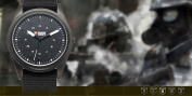 SHARK ARMY Men's Casual Style black Nylon Straps Military Sport Quartz Watch