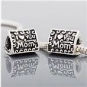 Antique Silver I Love You Mom Charm Bead