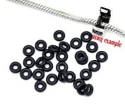 20 High Quality Black Silicone Rubber Stopper Bead Spacers Charm or Clip Over Fits Pandora Chamilia Style Bracelet