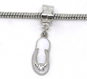 Divine Beads White Enamel Beach Sandal / Flip Flop with rhinestone detailing dangle Charm Bead fits Pandora, Biagi, Tedora, Chamilia, Bacio, Troll and other European style bracelets