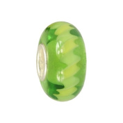 IMPPAC green Murano Style Glass Bead, Grassland, 925 Sterling Silver, fits European Charms Bracelets SMB8114
