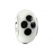 IMPPAC black and white Murano Style Glass Bead, White, 925 Sterling Silver, fits European Charms Bracelets SMB8044