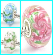 3 Flower Sisters Hawaii Garden .925 Stamped Solid Sterling Silver Core Murano Glass Beads Charms