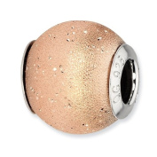 Sterling Silver Reflections Rose Gold-plated Laser Cut Bead