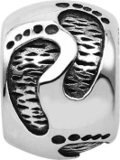 Persona Sterling Silver Footprints Charm fits Pandora, Troll & Chamilia European Charm Bracelets