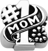 Persona Sterling Silver #1 Mom Charm fits Pandora, Troll & Chamilia European Charm Bracelets