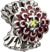 Authentic Chamilia Burgundy Blooming Zinnia Charm - 2020-0652