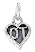"""Sterling Silver Heart Occupational Therapist """"Ot"""" Charm"""