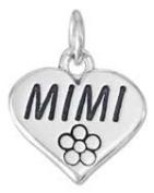 Sterling Silver Mimi Heart Flower Charm