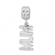 Sterling Silver Zircon MUM Dangle Charm Bead-fits Pandora, Troll & Chamilia European Charm Bracelets