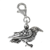 Sterling Silver Raven Crow Corvid Clip Charm Bird Pendant Totem Animal