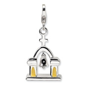 Sterling Silver 3-D Enamelled Church W/Moving Bell W/Lobster Clasp Charm