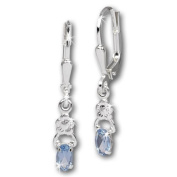 SilberDream earring small flower and light blue zirconia, 925 Sterling Silver SDO535H