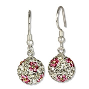 SilberDream Glitter Earring. elements white with pink flower on it, 925 Sterling Silver GSO301